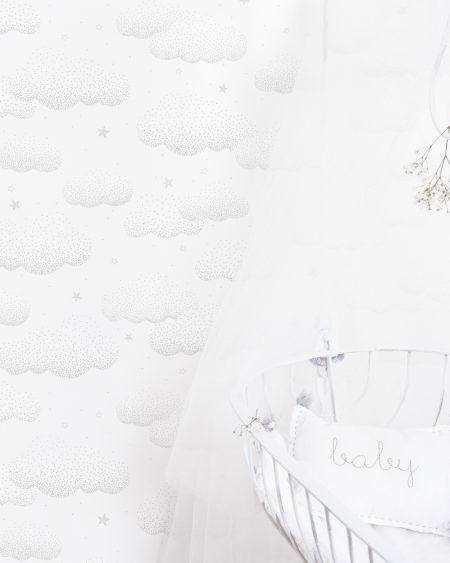 Papel pintado nubes y estrellas gris